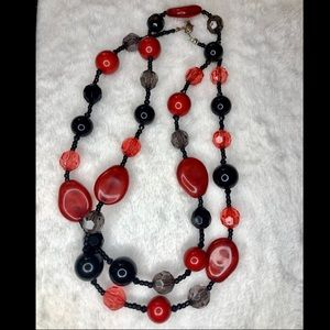 unbranded Jewelry - 💎BOGO FREE! Red & black beaded long necklace!🍒💎